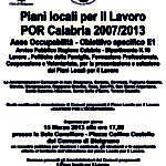 Piani locali per il lavoro POR Calabria 2007/2013