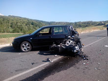 incidente-serralonga Incidente tra auto e moto. Centauro in gravi condizioni