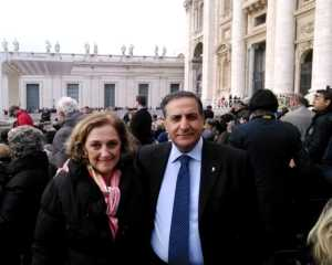 Caligiuri e Corigliano prima dell'udienza papale