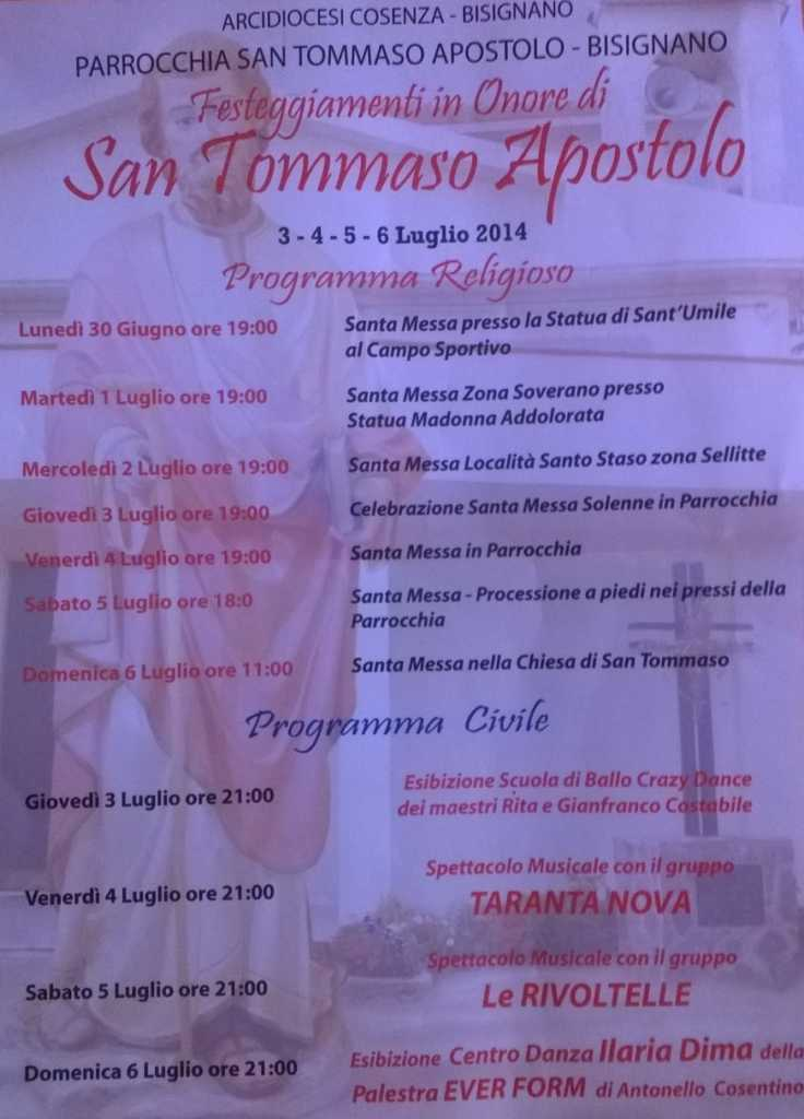 santommaso.14-736x1024 Festeggiamenti in onore di San Tommaso Apostolo dal 3 al 6 Luglio 2014