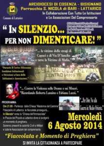 """10527478_759787480739972_9044390317527106342_n-214x300 Oggi a Lattarico """"In silenzio ... per non dimenticare"""""""