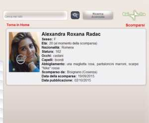 scheda-radac-300x247 Alexandra Roxana Radac, se ne occupa Chi l'ha visto?