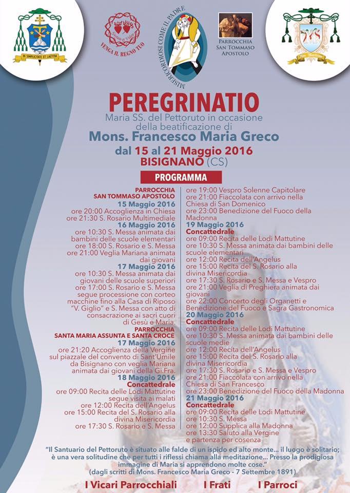 petteruto-bisignano-2016 La Madonna del Pettoruto a Bisignano: dal 15 al 21 Maggio