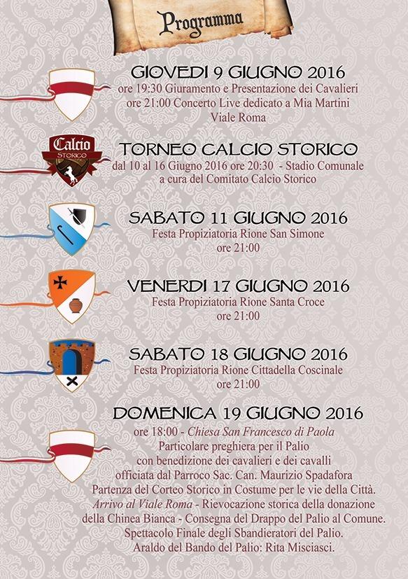 programma_1 Palio del Principe 2016: Il Programma