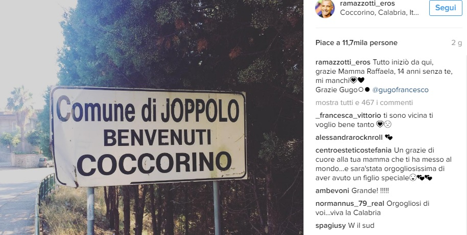 instagram-ramazzotti Eros Ramazzotti ricorda la sua mamma calabrese