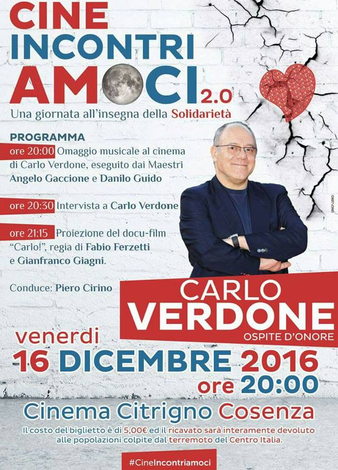 programma-verdone-cineincontiramoci CineIncontriamoci 2.0 : Verdone farà tappa ad Acri e Cosenza , il tutto abbinato per la solidarietà