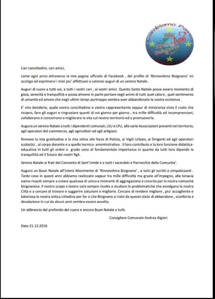 IMG-20161224-WA0000-737x1024 Gli auguri di Andrea Algieri alla città di Bisignano