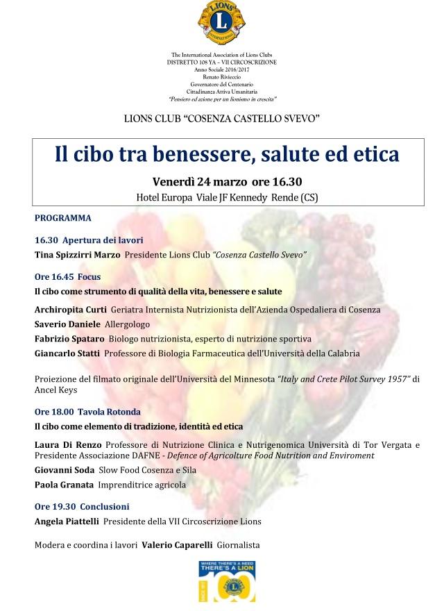 """locandina-cibo-benessere-salute Convegno del Lions Club """"Cosenza Castello Svevo"""" su cibo e Dieta Mediterranea"""