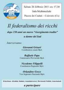 """aaaaCovegno-Caloveto-212x300 Il federalismo dei ricchi - dopo 150 anni un nuovo """"risorgimento tradito"""""""