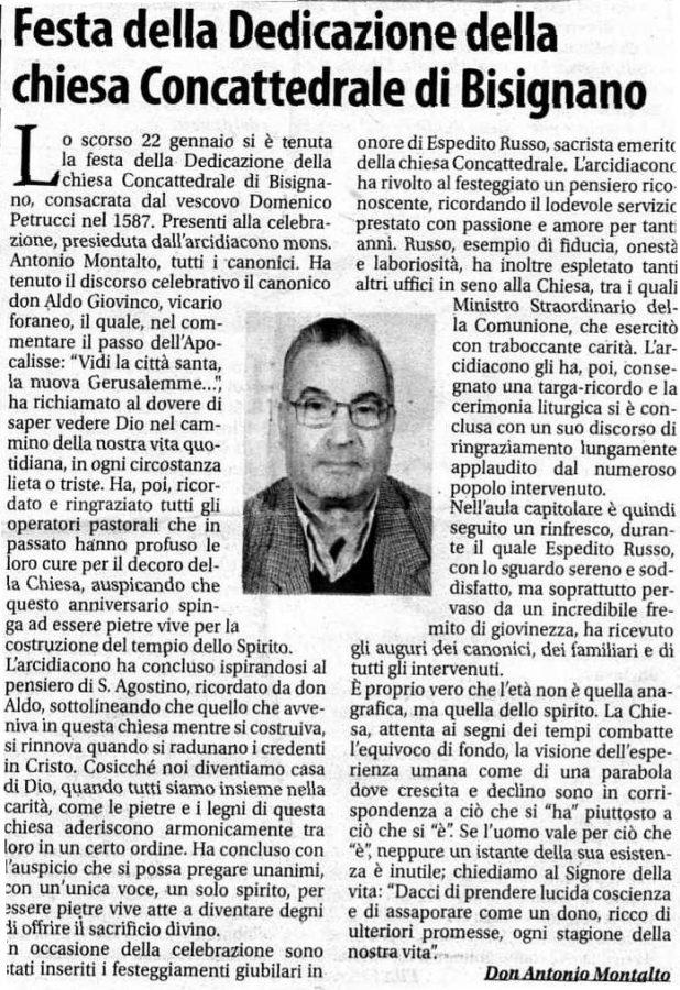 art_donantonio_montalto Festa della Dedicazione della Chiesa Concattedrale di Bisignano; Festeggiamenti giubiliari in onore di Espedito Russo