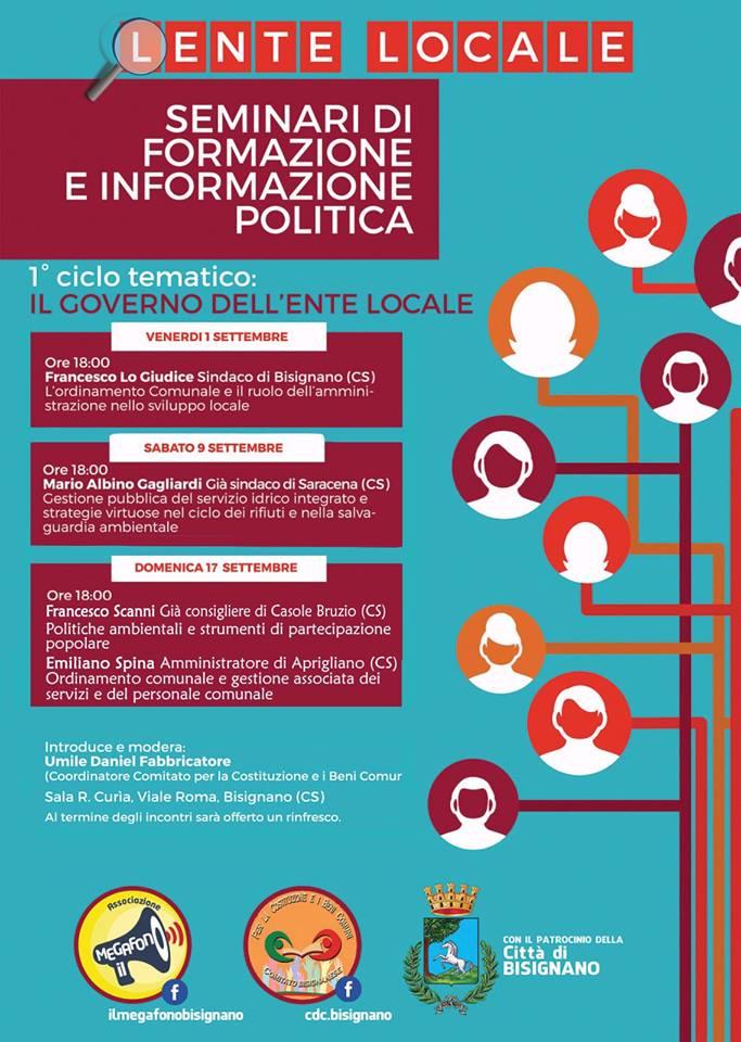 """lente_locale_bisignano Continuano i seminari di """"Lente Locale"""""""
