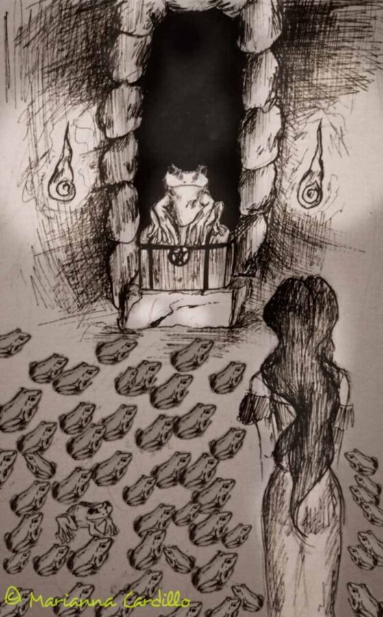 Vergine alla ricerca del tesoro custodito dalle rane