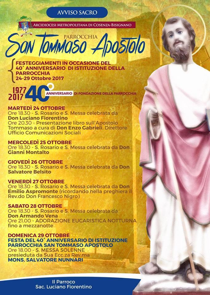 santommaso-40anni-parrocchia San Tommaso Apostolo 40° anniversario istituzione Parrocchia