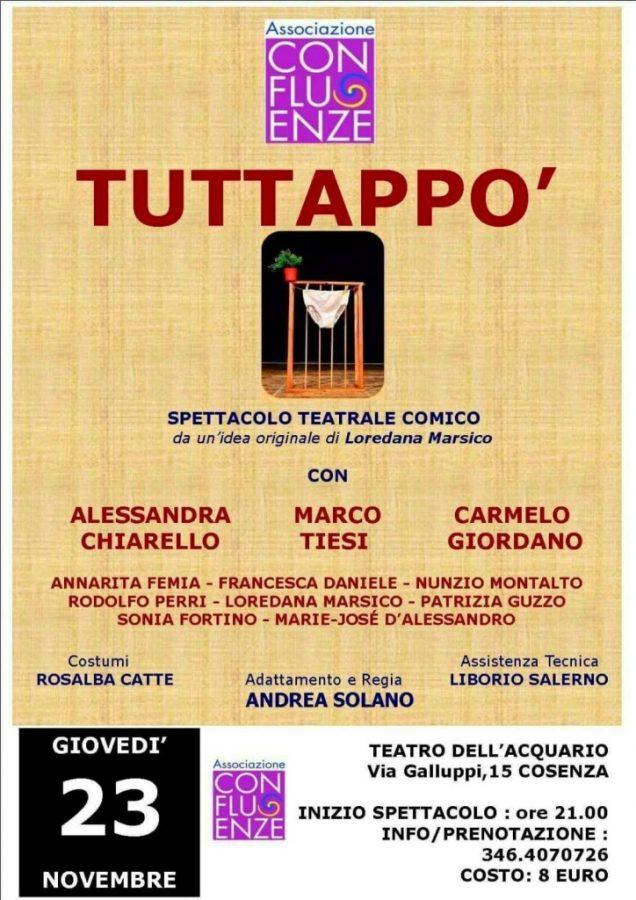 locandina-Teatro-dellAcquario Sold out all'Acquario di Cosenza per la commedia Tuttappò