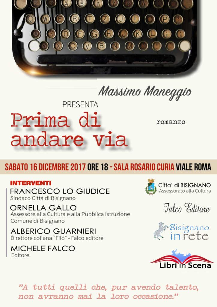 """presentazioneLibroMax-724x1024 """"Prima di andare via"""", nuovo libro per Massimo Maneggio"""