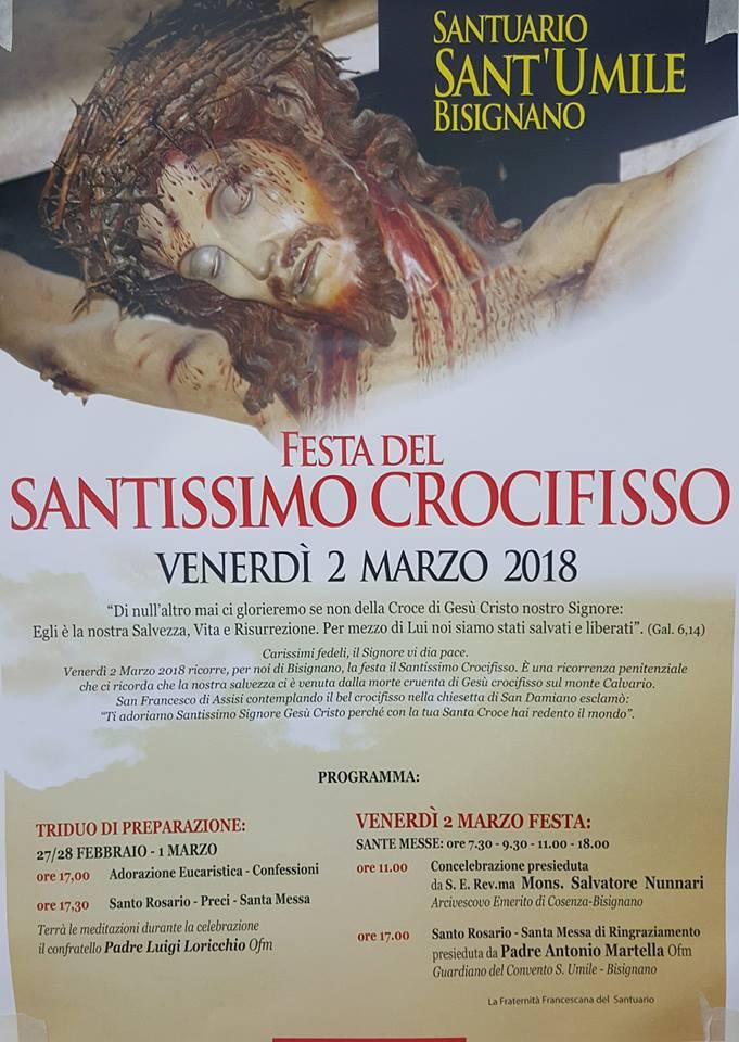 festa-ss-crocifisso-2018-bisignano Ordinanza sindacale: Fiera del Crocifisso 2 Marzo 2018