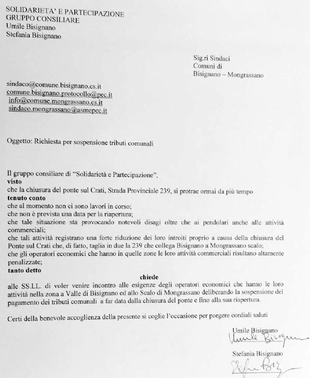 solid12bisig3 Solidarietà e Partecipazione chiede la sospensione dei tributi comunali nella zona a Valle di Bisignano