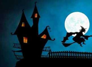 Streghe Castello sfondo luna